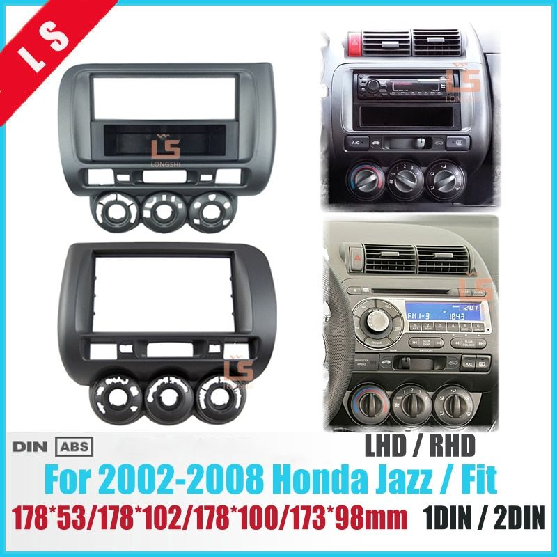 Auto Fascia für Honda Jazz One Doppel-din Radio DVD Stereo CD Panel Mount Installations Trim Kit Rahmen Lünette, manuelle AC LHD/RHD