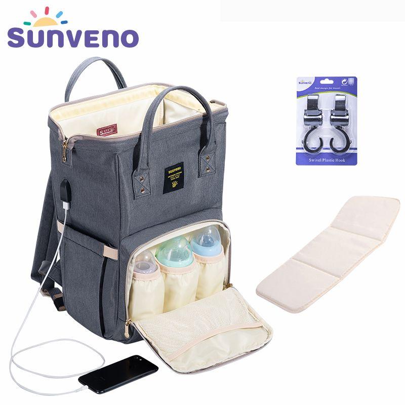 SUNVENO mode momie maternité sac à couches grand sac d'allaitement voyage sac à dos Designer poussette bébé sac bébé soin Nappy sac à dos
