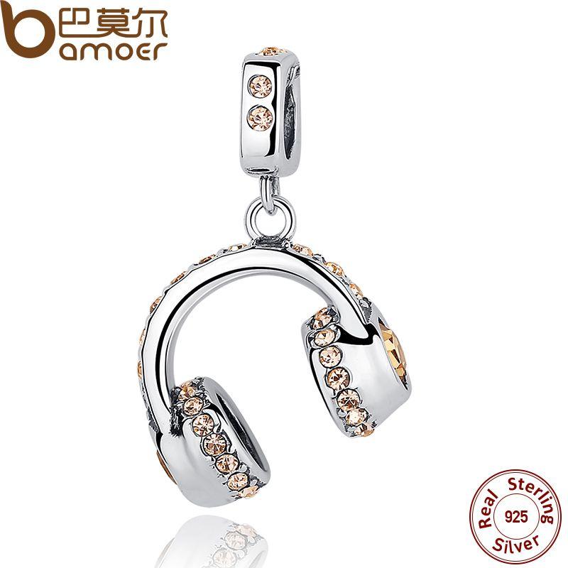 BAMOER 925 Sterling Silver Fashion Headset Earphone Musical Pendants fit Bracelets Necklace for Women Wedding Accessories SCC036
