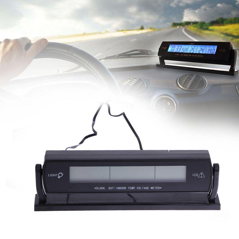 3 en 1 Multi fonction voiture numérique Auto thermomètre voltmètre réveil Volt température testeur extérieur intérieur LCD rétro-éclairage