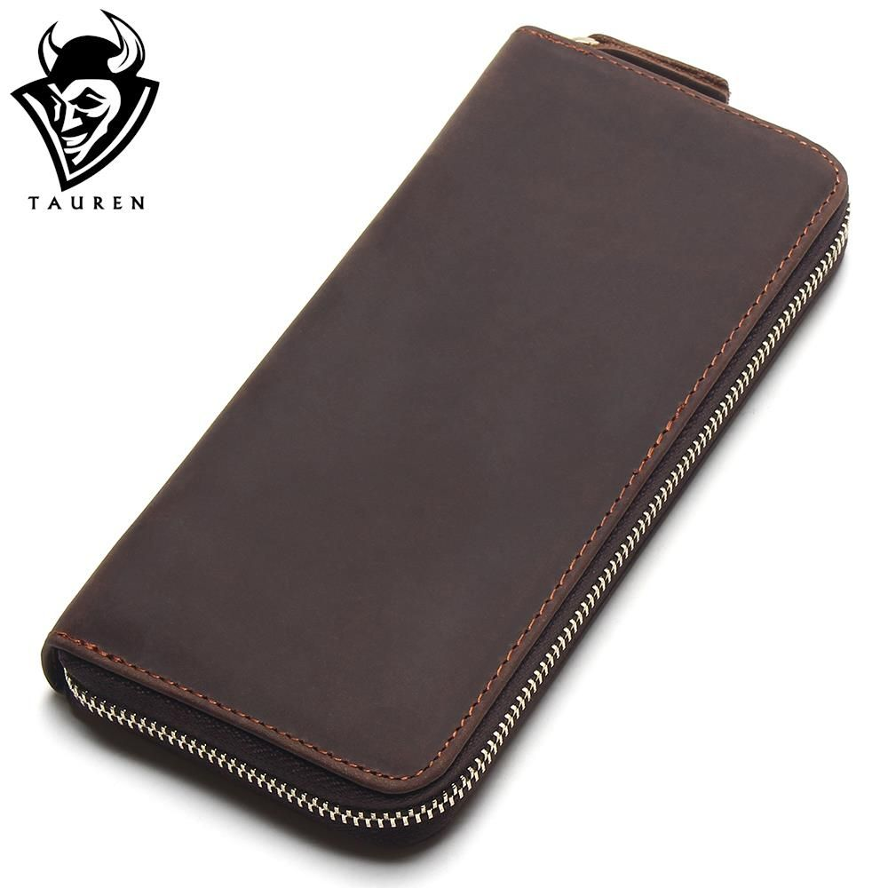 2018 Top Quality New Men Wallets Vintage Cow Crazy Horse Luxury Leather Men Manual Male Purse,Carteira Masculina