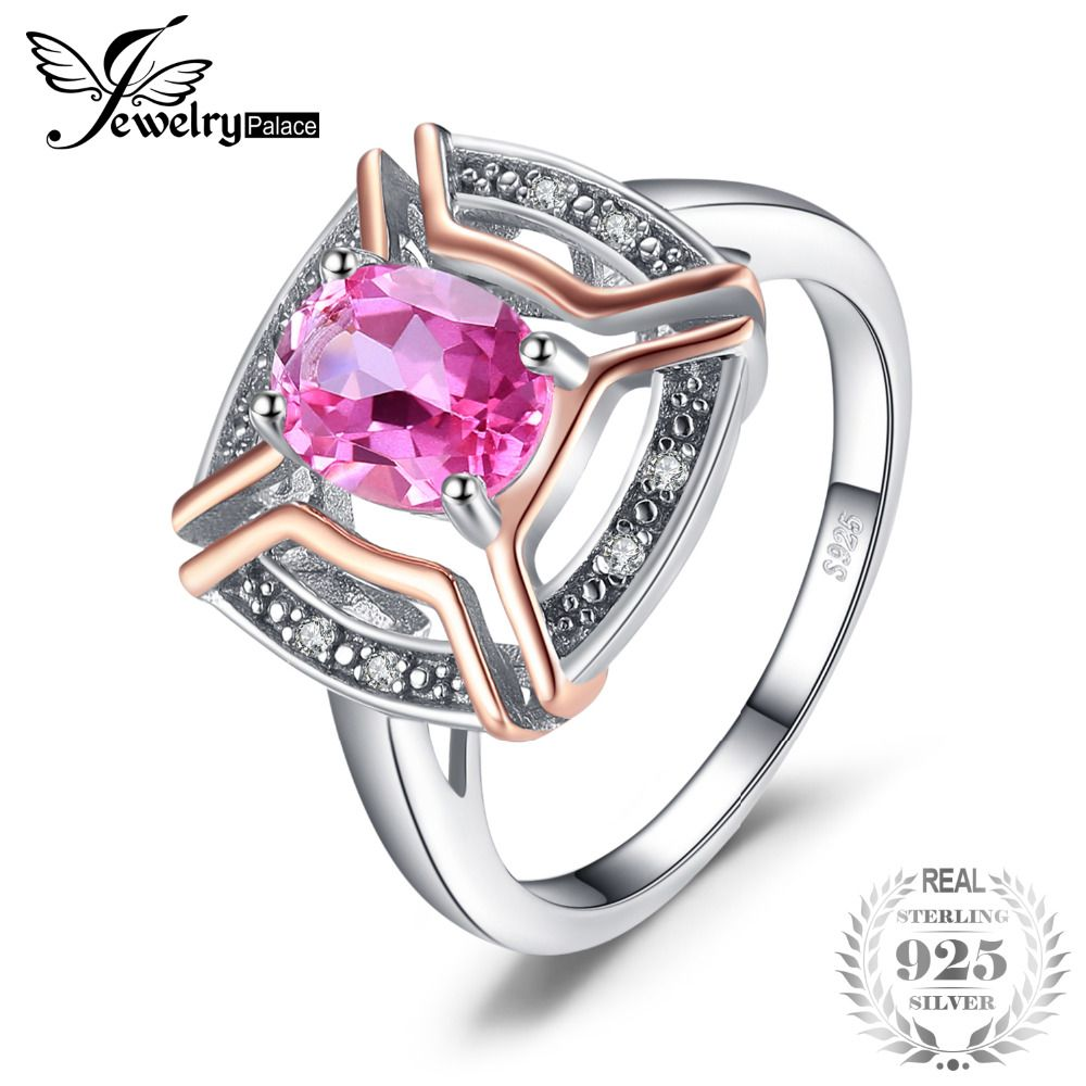 JewelryPalace Classical 1.5ct Oval Shape Pure Pink Topaz Ring 100% 925 Sterling Silver Wedding Fine Jewelry For Woman