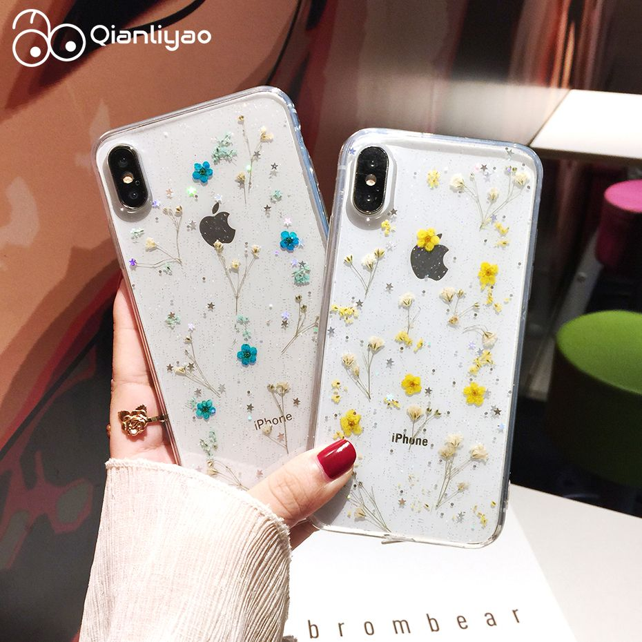 Qianliyao Real Flowers Dried Flowers Transparent Soft TPU Cover For iPhone X 6 6S 7 8 plus Phone Case For iphone XR XS Max Cover