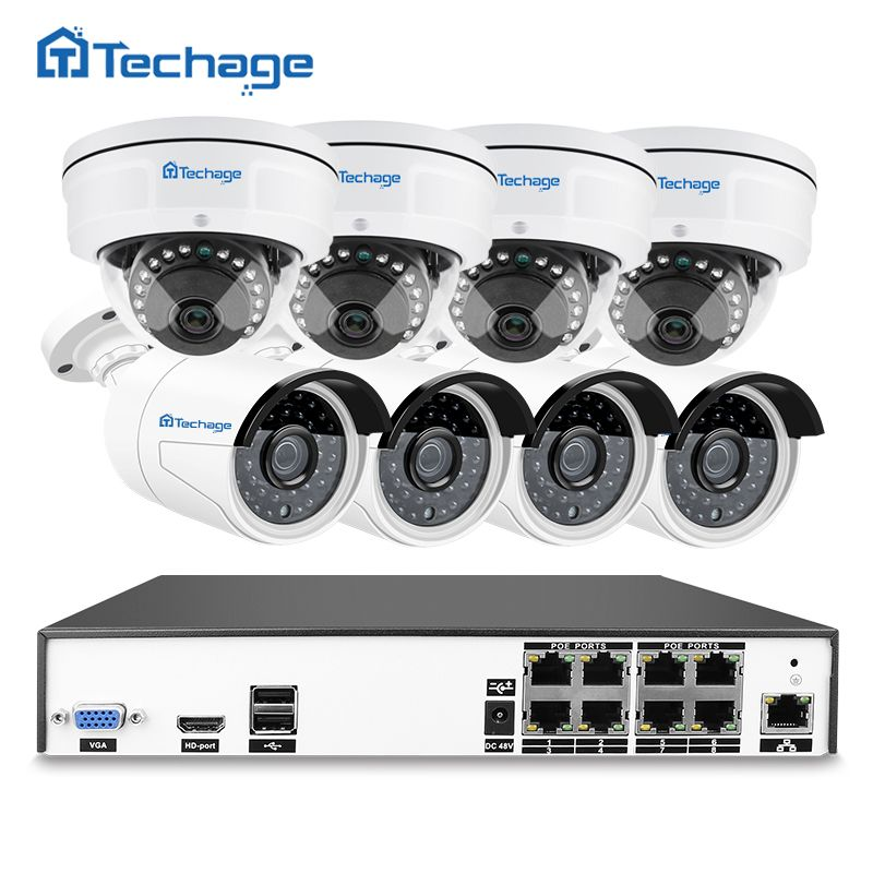 Techage H.265 8CH 48V POE NVR Kit 4MP 2592*1520 Vandalproof Anti-vandal Indoor Outdoor Dome IP Camera Security HD CCTV System