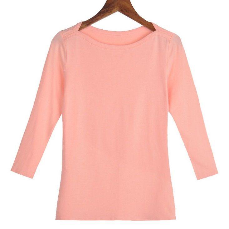 Taille S-XXL Femmes Slash Cou Mince 3 Trimestre Manches T Chemises Dame Coton Confortable Élastique Tops T-shirts Femme T-Shirt De Base