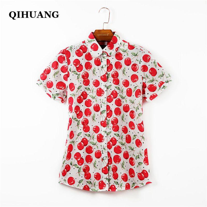 QIHUANG femmes Cheery Floral imprimé Blouse chemise à manches courtes 2019 été 100% coton vêtements grande taille femme chemise