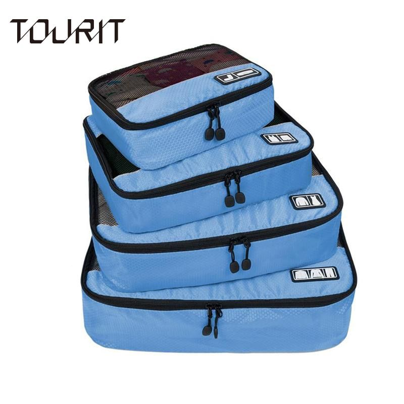 TOURIT New Breathable Travel Bag 4 Set Packing Cubes Luggage Packing Organizers with Shoe Bag Fit 23