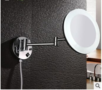 Bathroom Mirror Wall Mounted 8 inch Brass 3X Magnifying LED Mirror Folding Makeup Mirror Cosmetic Mirror Lady Gift