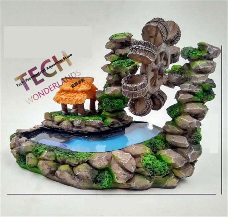150x140mm Environmental Resin View Aquarium Ornament Rotation Waterwheel - Artificial Mountain Windmill Decoration Fish Tank