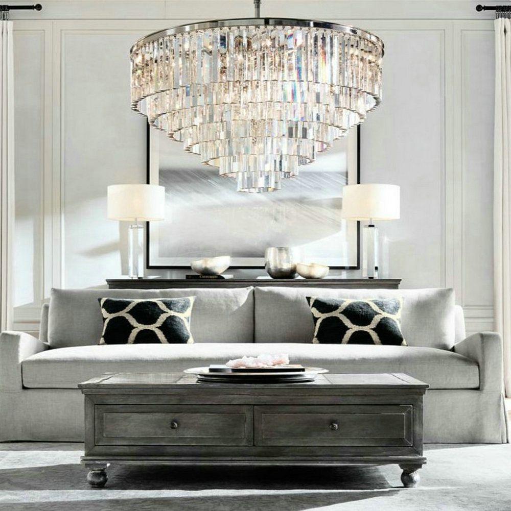 Lustre LED Ring Vintage Loft Glas K9 Kristall-kronleuchter Beleuchtung Leuchten für Schlafzimmer Wohnzimmer Küche