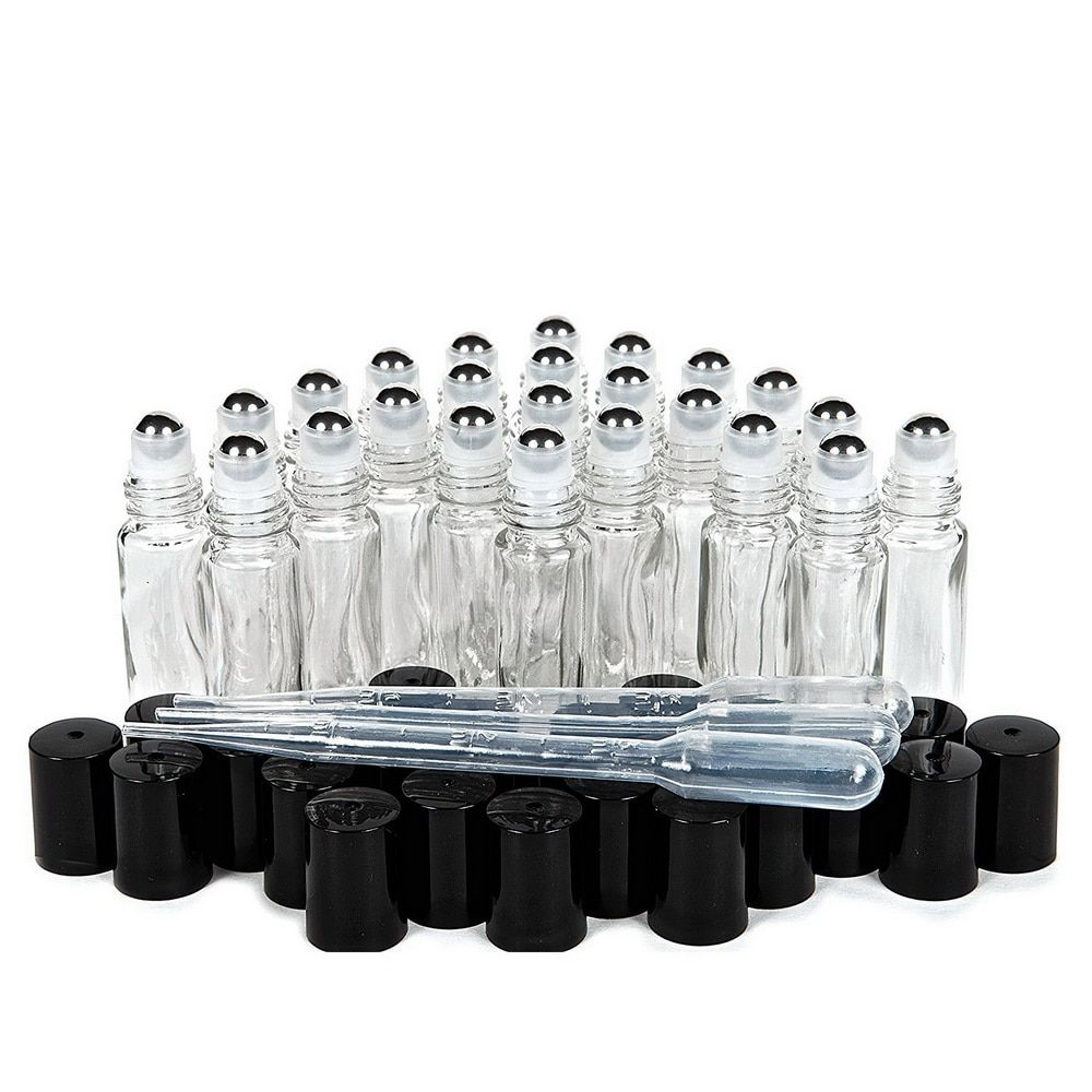 24 X 10ml Plain Clear Glass Perfume Roll on Bottle with stainless steel roller ball black cap lid for essential oil aromatherapy