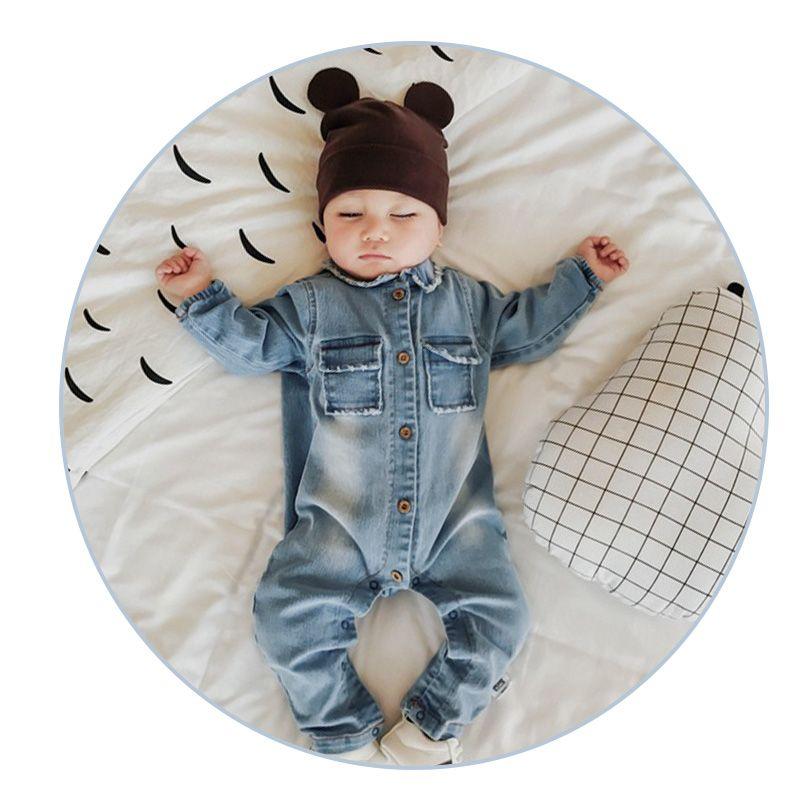 Doux Denim bébé barboteuse Graffiti infantile vêtements nouveau-né combinaison bébés garçon filles Costume Cowboy mode Jeans enfants barboteuses