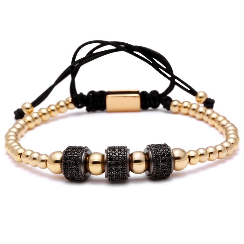 Mcllroy Brand Women Bracelets,8mm Pave Setting Black CZ Beads 4mm Round Beads & Braiding Bracelet For Women
