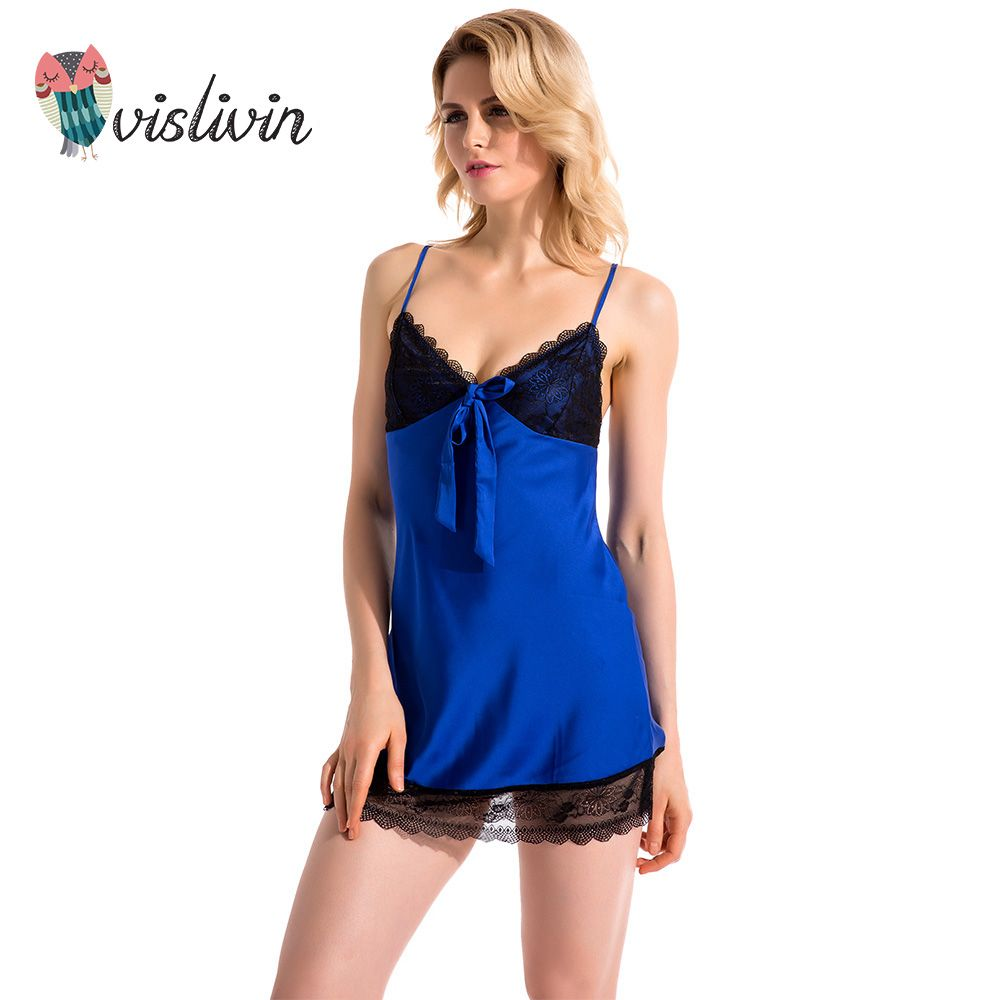 Vislivin 2017blue color sexy womens nightgown free shipping V-neck suspender sleeveless lace MINI sleepwear summer