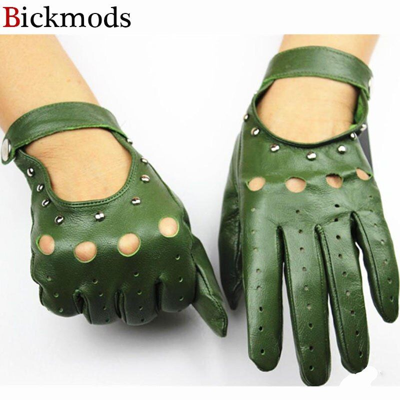 2017 new 100% leather gloves women's unlined thin fashion hollow rivets style spring and summer driving sheepskin gloves