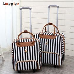 Mujeres viaje equipaje maleta bolsa, cabina impermeable tela Oxford Rolling trolley caso, pu cuero Equipaje de mano ruedas dragboxes