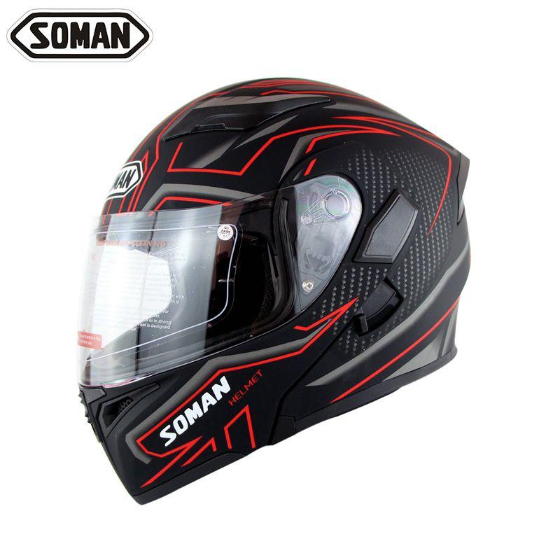 New Arrival High Quality Double Lens Motorcycle Helmet Flip UP Modular Motorbike Street Helmets Casco Casque Soman 955