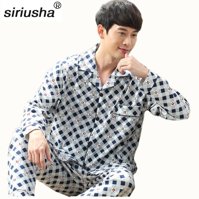 Толстые пижамные комплекты в номерах Длинные рукава хлопок высокое качество Для мужчин пижамы плюс Удобрения увеличить Дом молодежи Pijamas S07