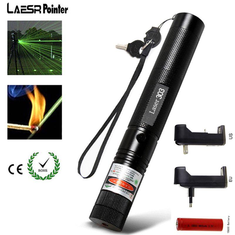 Мощный военный 5 МВт зеленый 303 лазерная указка 532nm Lazer указатель Верде Pen горящие луч сжечь матч с 18650 Батарея зарядное устройство