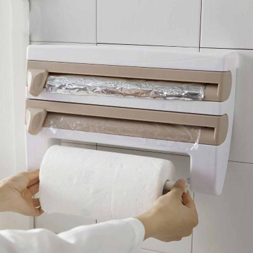 Kitchen Cling Film Storage Rack Wrap Cutter Refrigerator Wall Hanging Paper Towel Holder <font><b>Multifunction</b></font> Home Organizer