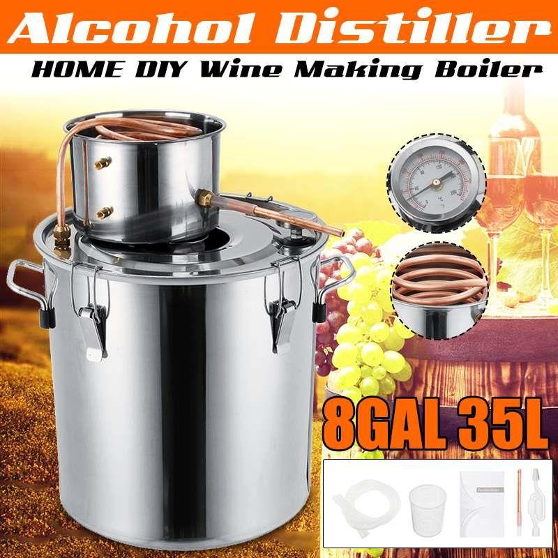 Effiziente 8GAL/35L Liter DIY Hause Brauen Distiller Moonshine Alkohol Noch Edelstahl Kupfer Wasser Wein Ätherisches Öl Brauen Kit