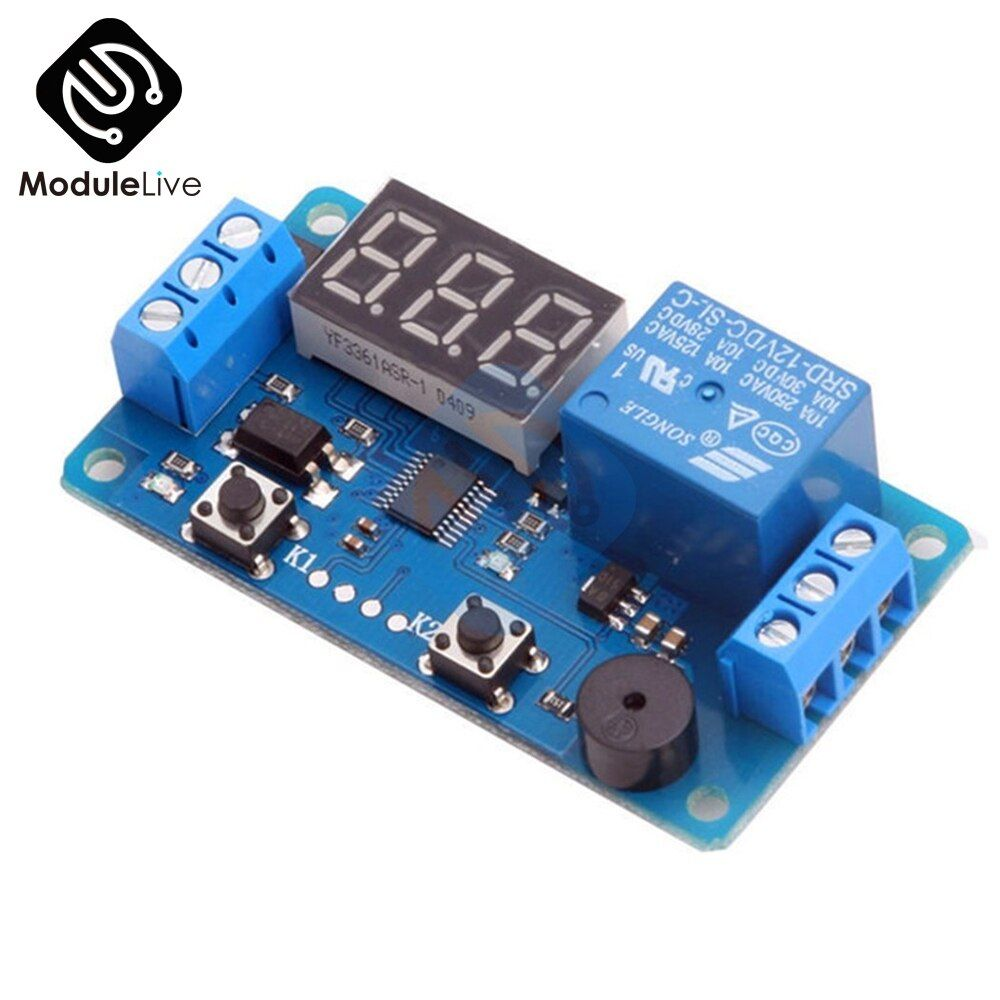 Digitale Led-anzeige Zeit Verzögerung Relais Modul Board DC 12 v Control Programmierbare Timer Schalter Trigger PLC Automatisierung Auto Summer