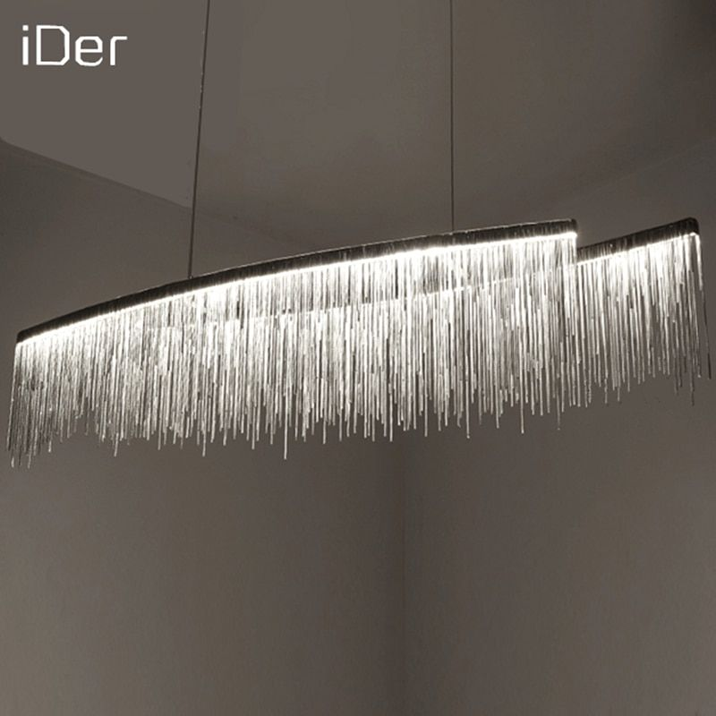 Modern designer decorative chandelier Nordic tassel restaurant luxury hotel engineering chain living room art lighting
