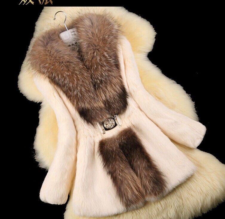 Autumn Ladies' Nature Rabbit Fur Coat Jacket Raccoon Fur Collar Winter Women Fur Trench Outerwear Coats Plus Size 4XL 5XL