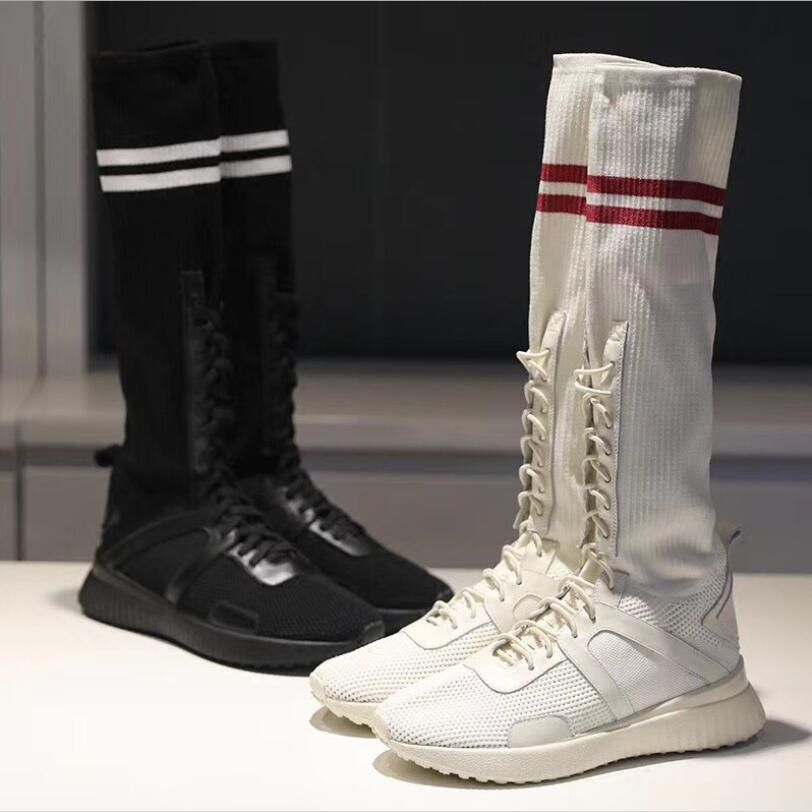 2018 the new star women fashion brand high cylinder elastic socks Boots female White and Black color laced up stretch flat boots