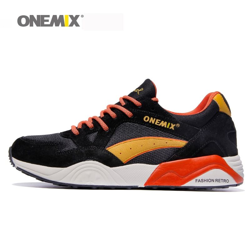 Onemix retro running shoes breathable men's <font><b>track</b></font> shoes male outdoor sport sneakers in black boy jogging shoes free shipping