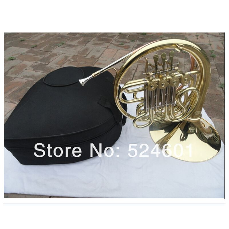 Beautiful Double Row 4 Key Single French Horn FB Key French Horn with Case Surface Gold Plated Horn