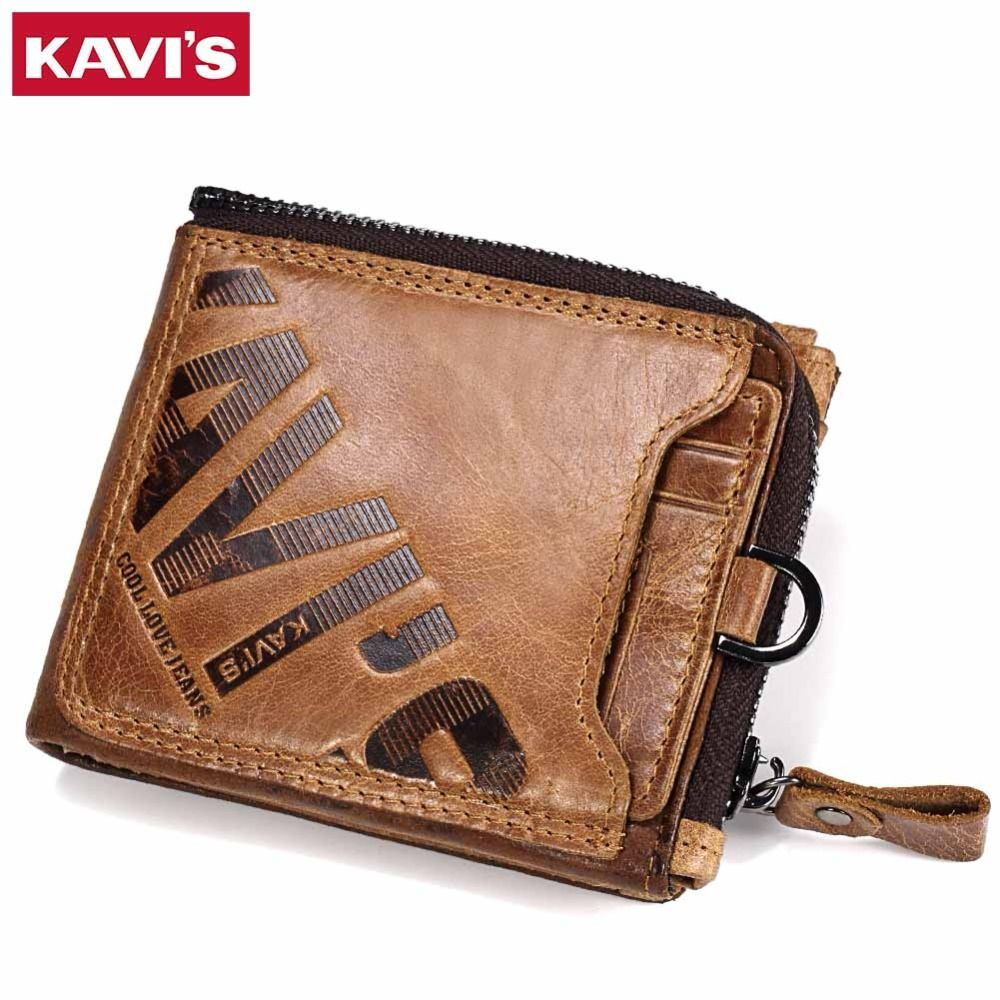 KAVIS Crazy Horse portefeuille en cuir véritable homme porte-monnaie homme Cuzdan Walet Portomonee portefeuille Perse petit sac d'argent de poche