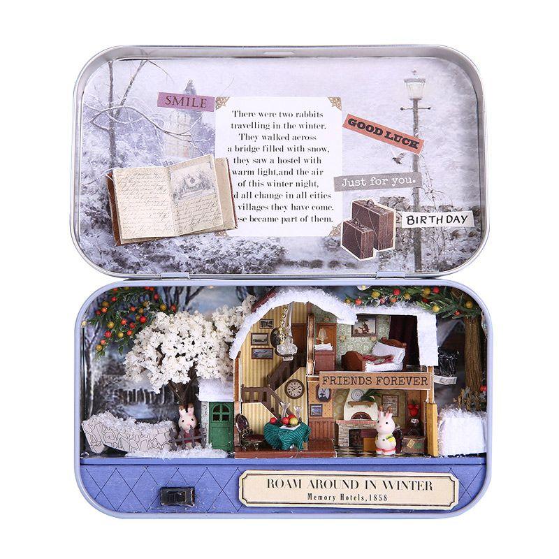 1:12 casa de Muñecas en miniatura de la Muchacha de Hadas De Hierro Modelo Kits de Caja de Juguetes Para 12-15 Años de Edad, Casa de Muñecas de Cumpleaños Regalos de Metal DIY CAJA de TEATRO