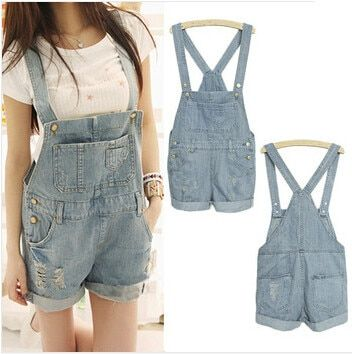 Top Quality 2017 Summer StyleWomen Girls Washed Jeans Denim Casual Hole Jumpsuit Romper Overalls Jeans Shorts S M L XL