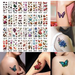 6 Lembar Kesehatan Tubuh Seni Tato Sementara Emas Flash Logam Stiker Tattoo Henna Wanita Perhiasan Tato Tahan Air