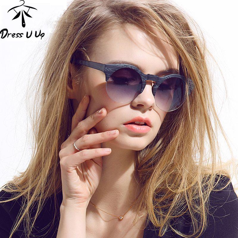 DRESSUUP 2017 Nouvelles Femmes Marque Designer Vintage lunettes de Soleil Femme Semi-sans monture Rétro Lunettes de Soleil Ronde Oculos De Sol Gafas Mujer