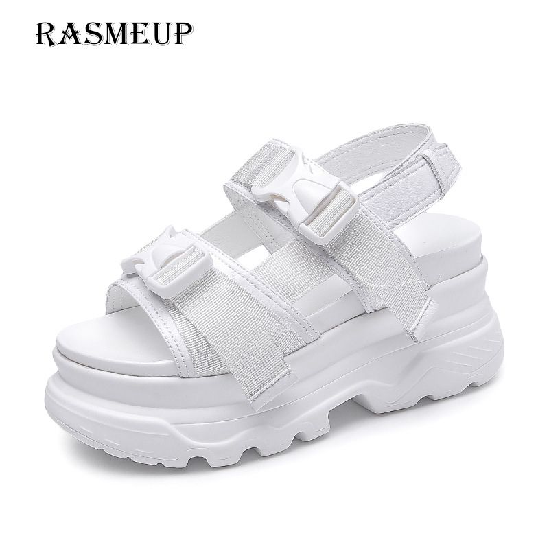 RASMEUP Rome Platform Women's Sandals 2018 Fashion Summer Leather Buckle Women Thick Soled Beach Sandals Casual Woman Shoes
