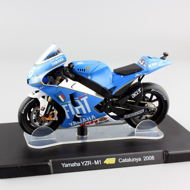kid 1/18 scale No.46 Valentino Rossi MotoGP Yamaha YZR-M1 Catalunya 2008 motorcycle road Champions racing diecast collection toy