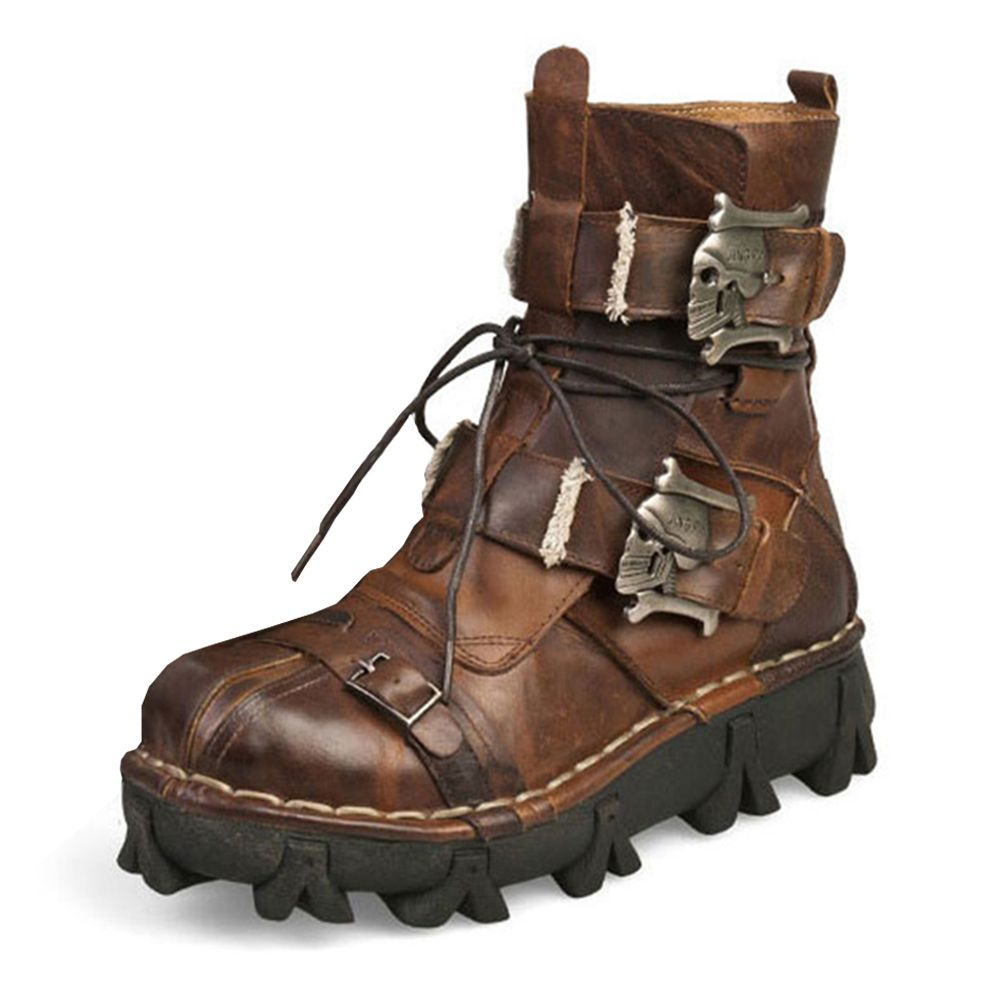 New Retro Cowhide Genuine Leather Motorcycle Boots Skull Punk Martin Botas Moto Boots Steampunk Mid-calf Shoes Protective Gear