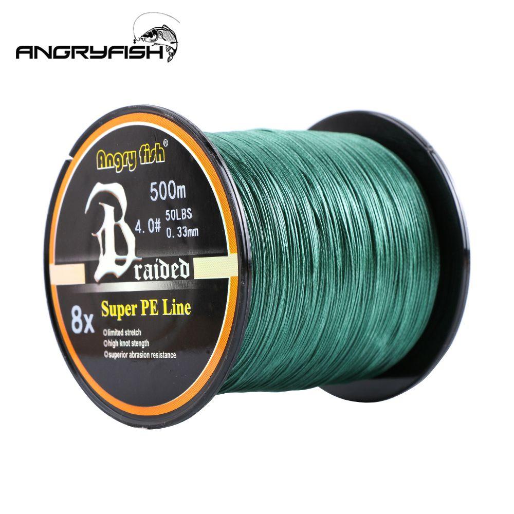 Angryfish vente en gros 500 mètres 8X ligne de pêche tressée 8 couleurs ligne PE Super forte