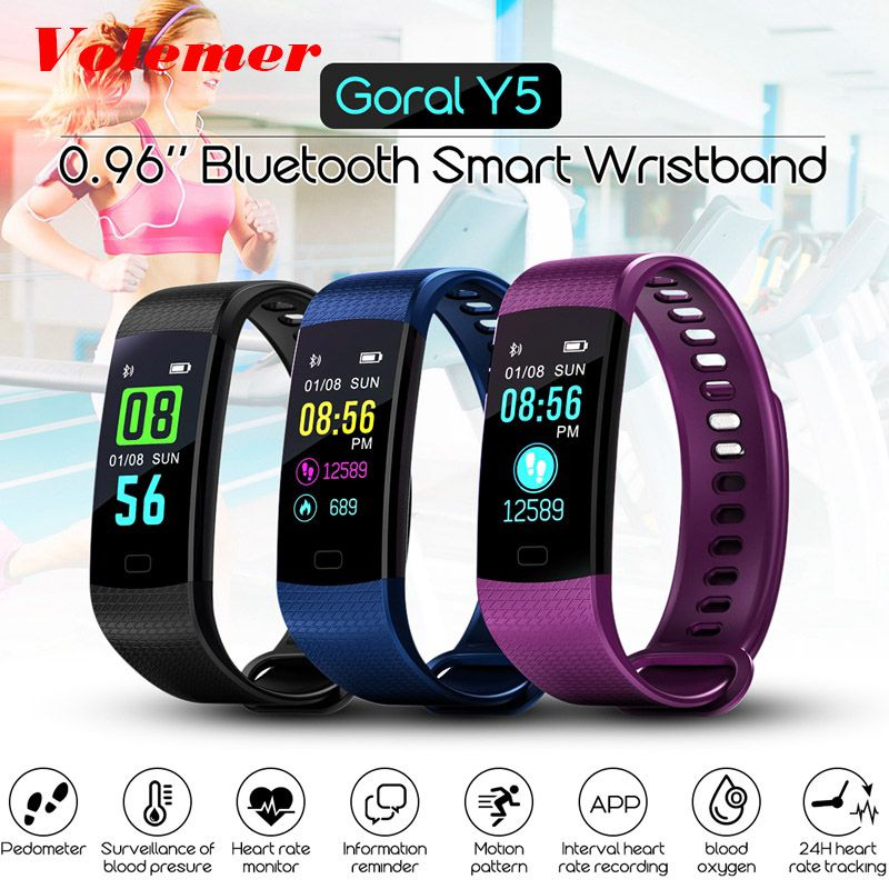 Volemer Y5 Bracelet électronique intelligent Bracelet couleur LCD montre activité APP Fitness Tracker pression artérielle fréquence cardiaque PK Y2 P3