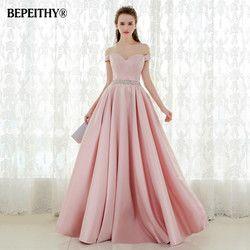 Vestido De Festa A-line Lange Abendkleider Kleid Vintage Weg Von Der Schulter Prom Kleider Kristall Gürtel Robe De Soiree 2019