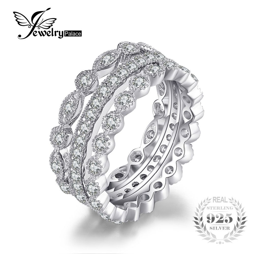 JewelryPalace Fashion 2.15ct Cubic Zirconia 3 Eternity Band <font><b>Rings</b></font> For Women Pure 925 Sterling Silver <font><b>Ring</b></font> Fashion Newes Jewelry