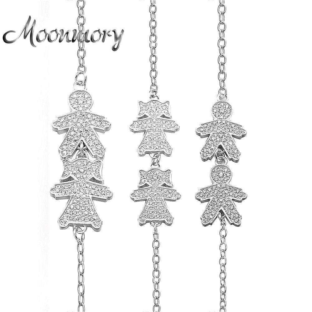 Moonmory Rusia niño niña bebé pulsera dos figura 925 joyas de plata con ZIRCON para bebé recién nacido chica
