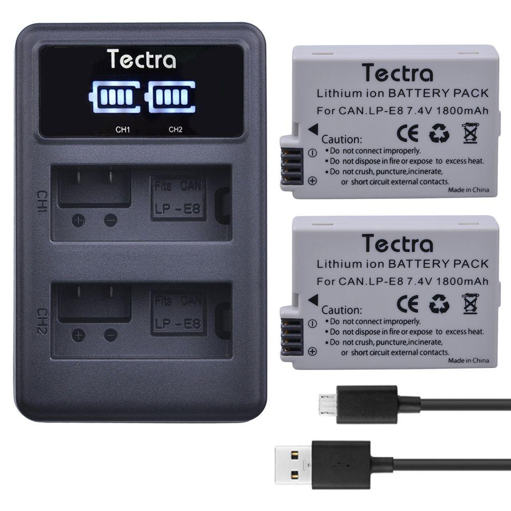 Tectra 2PCS LP-E8 LPE8 LP E8 Li-ion Camera Bateria + LED Display USB Dual Charger For Canon EOS 550D 600D 650D 700D