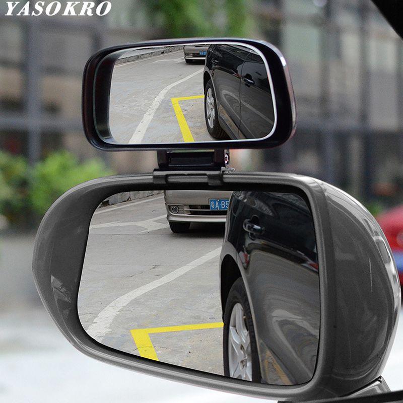 YASOKRO 1 paire voiture Angle mort miroir 360 Rotation réglable rétroviseur grand Angle lentille pour Parking auxiliaire voiture miroir