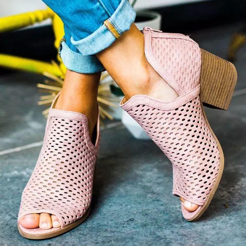 2019 été sandales femmes talons hauts creux poisson bouche sandales à talons compensés chaussures décontractées femmes grande taille bout ouvert dames sandales