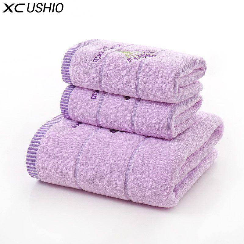 XC Ushio 3 шт./компл. 100% хлопок лаванда набор полотенец One Piece 70*140 см банное полотенце два куска 34*75 см лицо полотенца подарочный набор полотенец