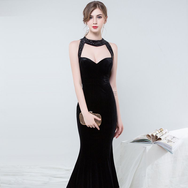 Long Evening Dresses 2018 With Beautiful Beads Sexy Halter Club Party Dresses Sleeveless Floor-Length Mermaid dresses WD009