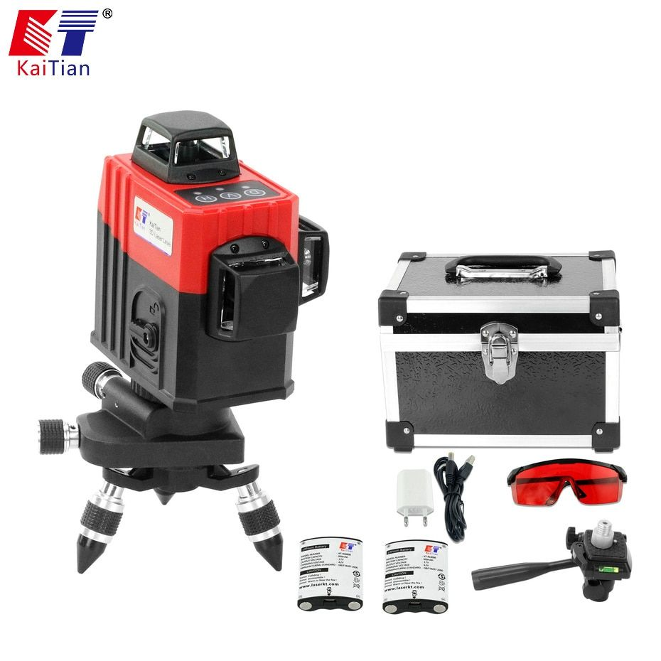 KaiTian 3D Laser Level 12 Line 3D5 Battery with Outdoor 360 Horizonta Self-Leveling Vertical 650nm Livella Laser Beam Line Tools